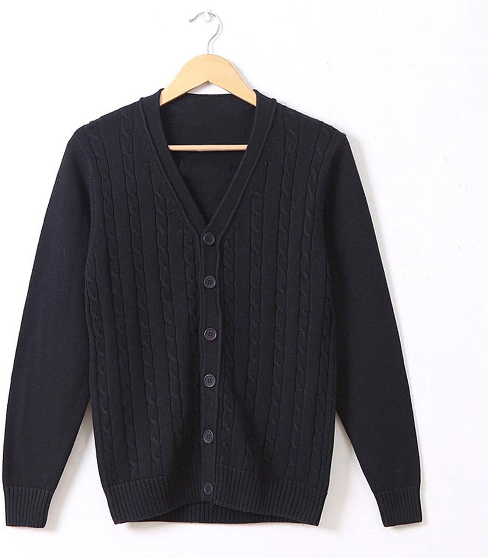 100% Cotton Knit Cardigan Men's Long Sleeve New V Neck Thin Sweater 162