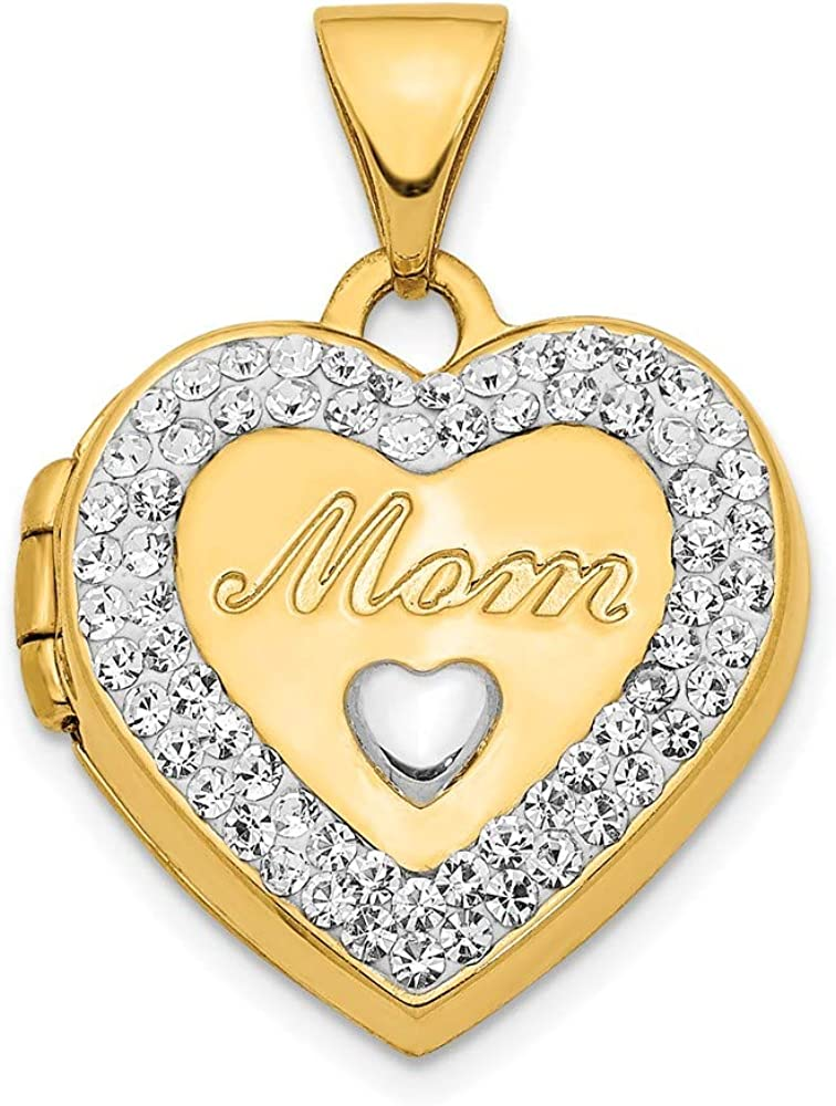 14k Yellow Gold White Crystal 16mm Mom Heart Locket Pendant Charm Necklace Fine Jewelry For Women Gifts For Her