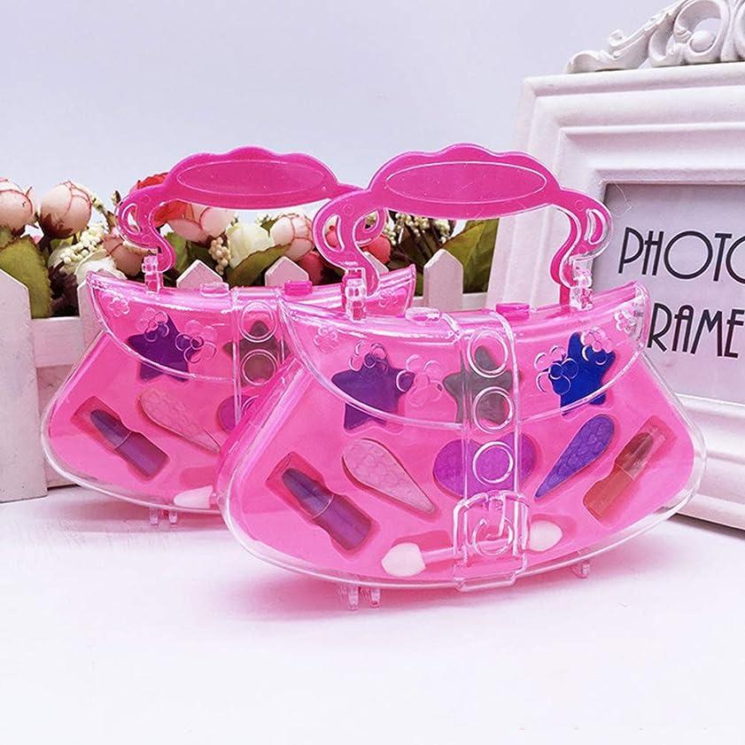 誇張補正ジャンクポータブルプリンセスふりプレイ化粧おもちゃセットキッズ子供シミュレーション化粧品 - ピンク