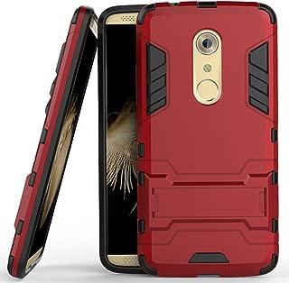 Axon 7 Case, ZTE Axon 7 Case, MicroP(TM) Dual Layer Armor Hard Slim Hybrid Kickstand Phone Cover Case for ZTE Axon 7 (Red Kickstand Case)