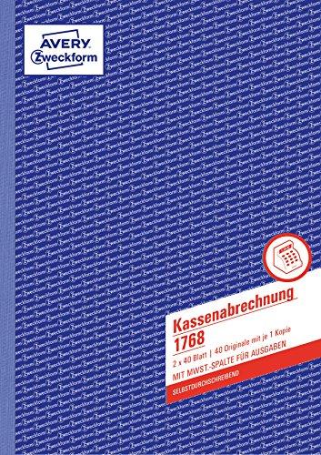 AVERY Zweckform 1768 Kassenabrechnung (A4, mit MwSt.-Spalte, von Rechtsexperten geprüft, mit Ausfüllhilfe, für Deutschland und Österreich zum Erfassen von Ein- und Ausgaben, 2x40 Blatt) weiß/gelb