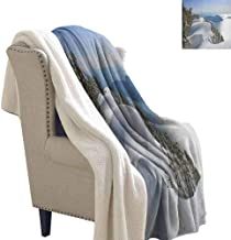Winter Flannel Double Blanket Pacific Ocean Meets The Mountains Vancouver British Columbia Canada Blanket for Family and Friends White Olive Green Blue Twin Size