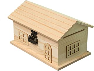 Creative Piggy Bank Piggy Bank Small House Creative Wood with Lock Retro Can Not Take Out Adult Children Money Box Gift Ho...