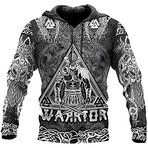 Viking Warrior Tattoo Sudadera con Capucha para Hombre Impreso En 3D Norse Mythical Knight Sudadera De Moda Samurai Pullover Suelto Chaqueta De Cosplay,Hoodie,M