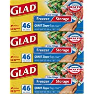 Glad Zipper Food Storage and Freezer 2 in 1 Plastic Bags - Quart - 46 Count, Pack of 3 (Package May Vary)