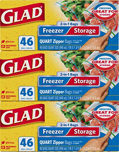 Glad Food Storage and Freezer 2 in 1 Zipper Bags - Quart Size - 46 Count Each (Pack of 3) (Package May Vary), Gray