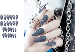 MISUD Stiletto Fake Nails 24 Pcs Oval Pointed Press-on Gray Smooth Artificial False Nails Art Tips