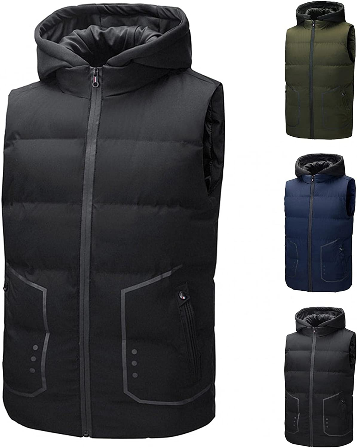 Huangse Men's Lightweight Water-Resistant Puffer Vest Outdoor Remouveble Hood Padded Vest Sleeveless Casual Work Down Vests