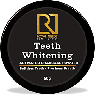 ROYAL NEEDS Coconut shell Activated Charcoal Teeth whitening Powder 50gm| Naturally whiten teeth,Removes stains & Removes Bad Breath| ENAMEL Safe | Suitable for Sensitive teeth |