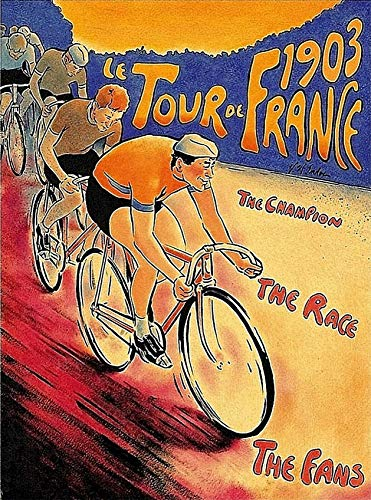ABLERTRADE 1903 Tour de France Bicycle Race Paris France Vintage Travel Art Retro Metal Poster Signs Wall Decor Gift 8X12 Inch
