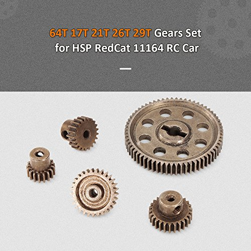 Diff Differential Main Metal Spur Gear 64T 17T 21T 26T 29T Motor Gear RC Part for Redcat HSP 1/10 Monster Truck