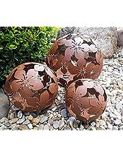 Set van 3 decoratieve ballen tuinballen bloem metaal 10 + 15 + 20 cm bruin roest-look bal tuinbal