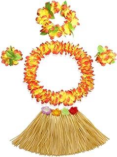 40cm grass skirt with flowers bracelets headband necklace Hula set