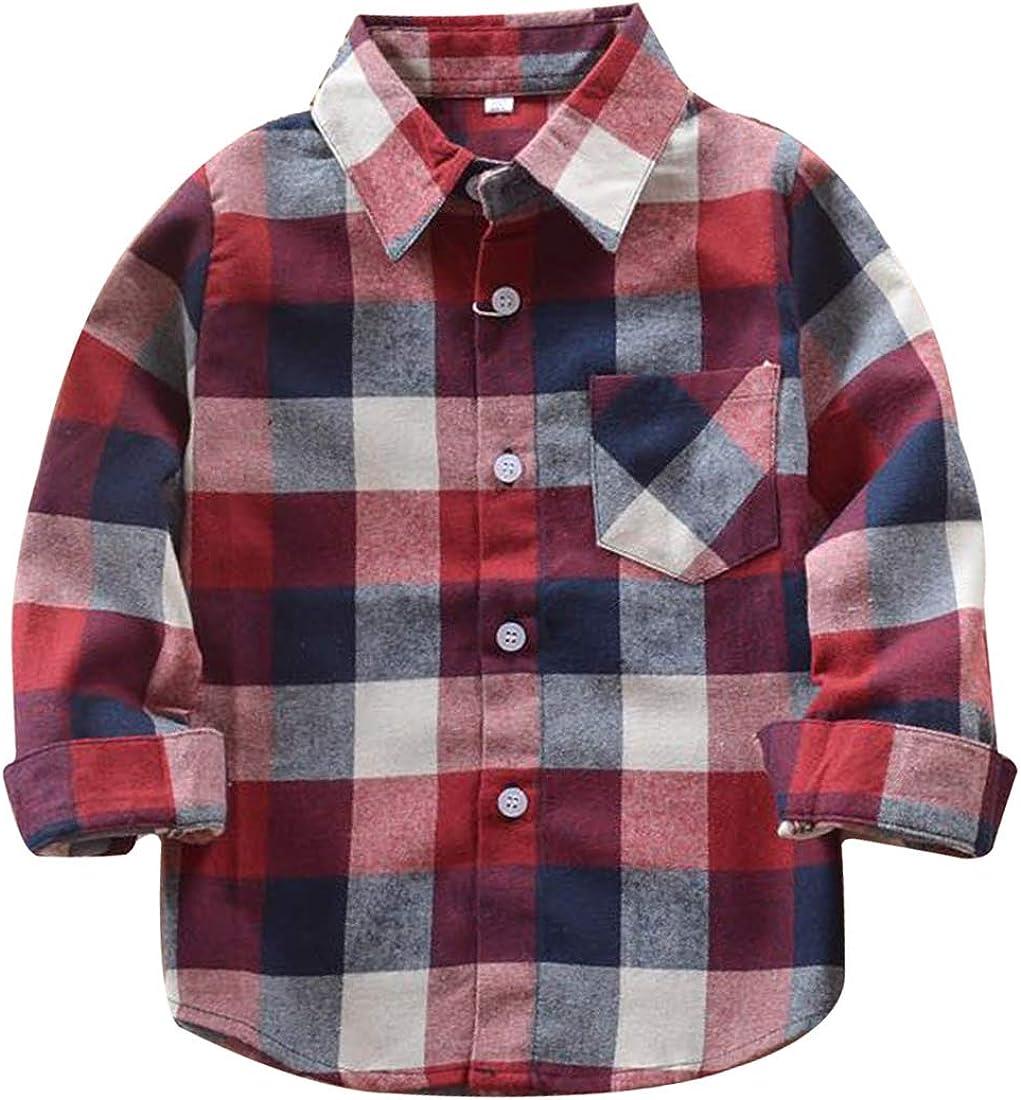 DSAYIN Plaid Shirts for Girls Boys Long Sleeve Button Down Flannel Christmas Plaid Shirt Kids