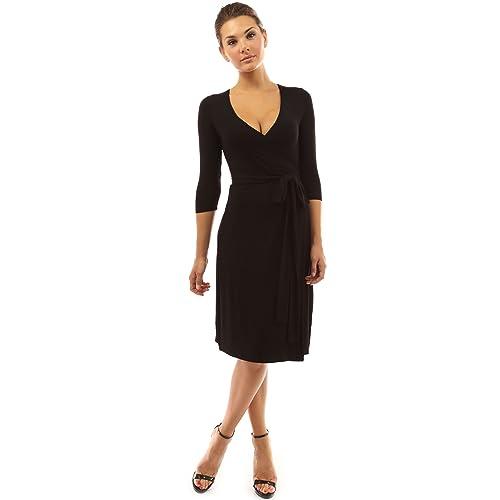 5d03fe1f5e94 PattyBoutik Women's V Neck 3/4 Sleeve Faux Wrap Dress