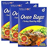 WRAPOK Oven Cooking Turkey Bags Large Size Ribs Baking Roasting Bags No Mess For Chicken Meat Ham Poultry Fish Seafood Vegetable - 12 Bags (17 x 21.5 Inch)