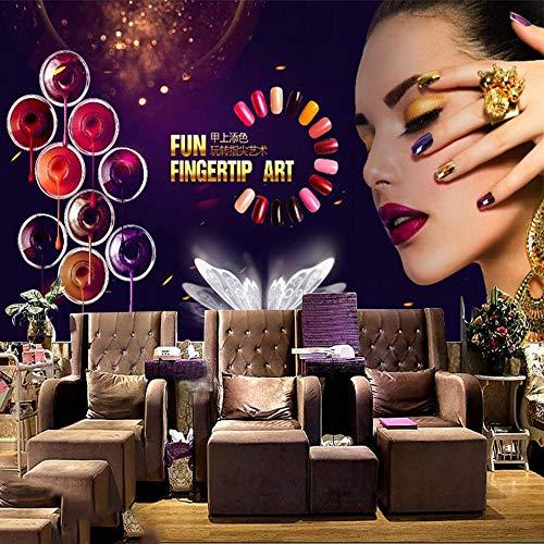3D HD Wallpaper Nagelstudio Kosmetik Shop Nagellack Aquarell Dekoration Hintergrund Tapete Trendy Muralpaste Randeffekt unter Schlafzimmer400cm×280cm