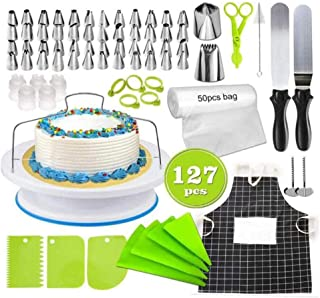 Beauenty Cake Decorating Kit, 127 PCS Baking Supplies With 11 Inch Cake Turntable, Icing Tips, Cake Spatulas, Pastry Tool...