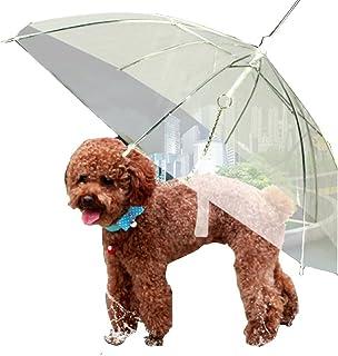 Moore Transparent Umbrella with Built-in Leash Pet Dog Puppy Dry Comfortable in Rain