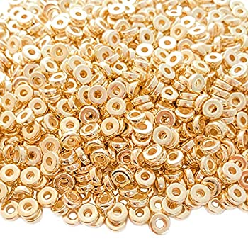 Mulutoo 1200pcs 6mm Gold Flat Disc Spacer Beads Round CCB Rondelle Beads Spacers for Bracelet Necklace Jewelry DIY Crafts Making