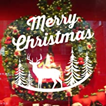 """BIBITIME. Elk Merry Christmas Frost 4 Trees Wall Decal Quotes Vinyl Sticker Living Room Nursery Bedroom Children Kids Room Decor DIY 16"""" x 17"""" White B4942 Merry Christmas Wall Decal"""