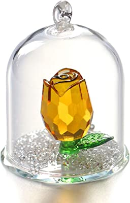 H&D Crystal Enchanted Rose Flower Figurine Dreams Ornament in a Glass Dome Gifts for her (Yellow)
