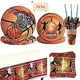 Noe 73 pièces Basketball Party Supplies Set de vaisselle de basketball en carton avec assiettes, serviettes, gobelets, etc. Décoration pour 8 personnes