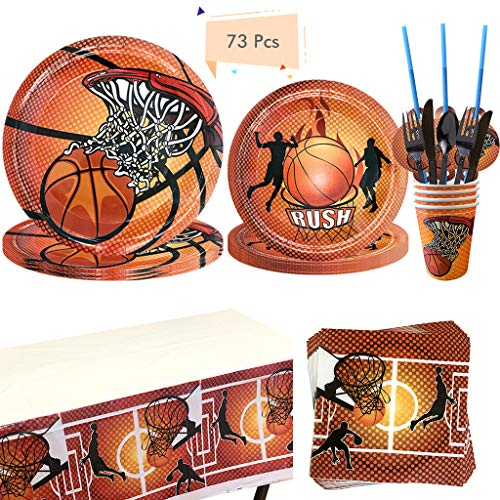 Noe 73tlg. Basketball Party Supplies für Jungen Geburtstag, Basketball Pappgeschirr Sport Thema Geburtstagsparty Set mit Teller, Servietten, Becher usw. Basketball Party Deko für 8 Personen