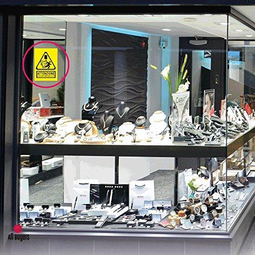 Adesivo nebbiogeno Cartello Adesivo Segnaletica Protezione Nebbiogena Attiva A4 (29,7 x 21 cm) • in PVC Impermeabile - Sicurezza e Allerta, Sistema di sicurezza attivo, Cartello adesivo in PVC