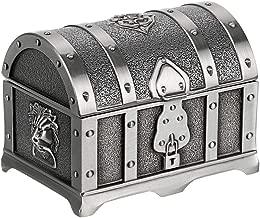 Hipiwe Vintage Metal Jewelry Box Treasure Trinket Chest,Smal Ring Earrings Necklace Keepsake Gift Holder Case for Girls Ladies Women (Small)