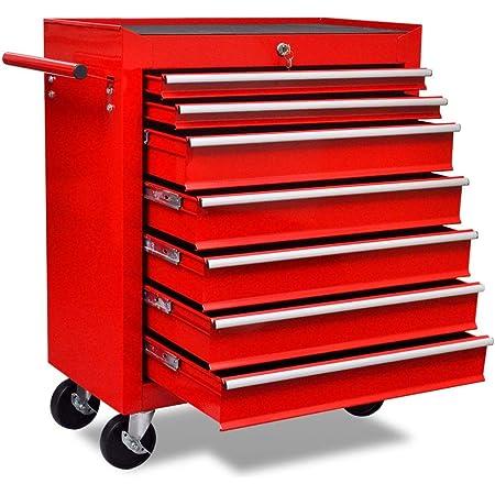 vidaXL Carrito de Herramientas con 7 Cajones Acero Rojo Caja Bricolaje Ruedas