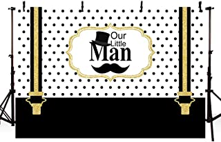 MEHOFOTO Black and Gold Little Man Baby Shower Photo Background Cute Black and White Polka Dots Prince Hat Beard Suspenders Boy Baby Shower Party Decoration Banner Backdrops for Photography 7x5ft
