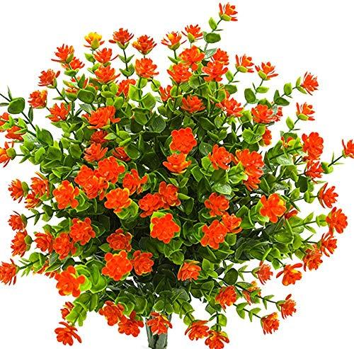 Ruiuzioong Fiori Finti Artificiali, Confezione da 4 Pezzi, Resistenti ai Raggi UV, per Interni ed Esterni (Orange)
