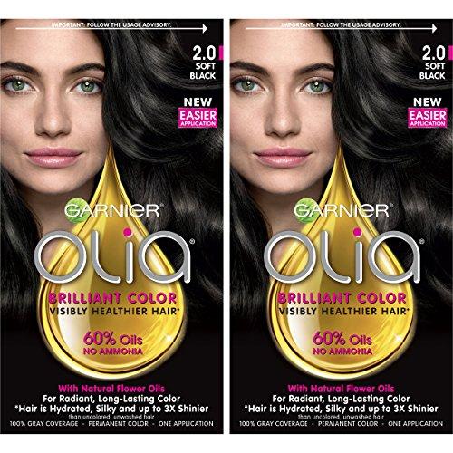 Garnier Olia Ammonia-Free Brilliant Color Oil-Rich Permanent Hair Color, 2.0 Soft Black (Pack of 2) Black Hair Dye