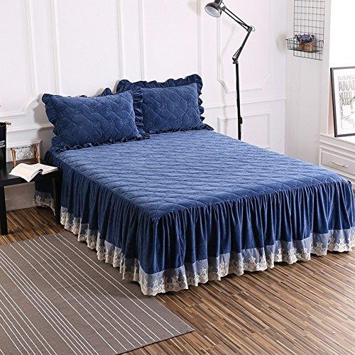 Bettvolant, Samt und Baumwolle, gesteppt, warm, dick, blau, 180x220cm(71x87inch)