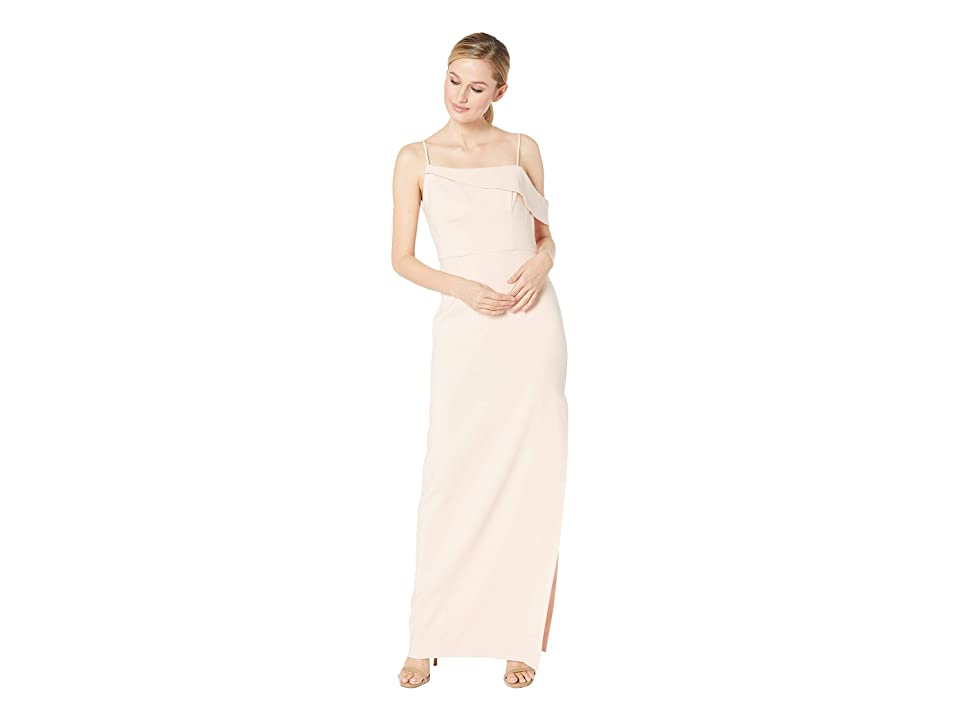 Laundry by Shelli Segal Asymmetrical Crepe Column Gown (Blush) Women