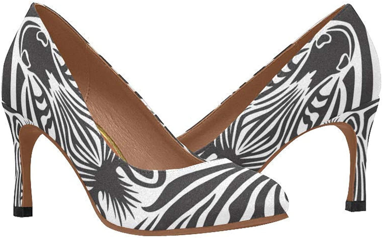 InterestPrint Womnen's High Heels Pumps shoes Printed Zebra Slip On Comfort shoes