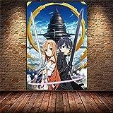 Aishangjia Anime japonés Sword Art Online Lienzo Pintura Carteles e Impresiones Imagen Dibujos Animados para la habitación de los niños Arte Decoración para el hogar 50x70 cm N-974