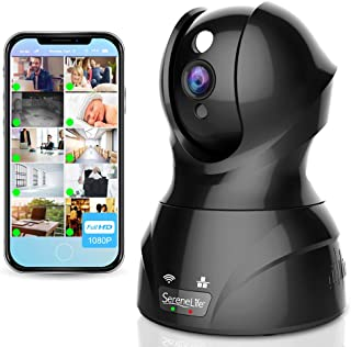 SereneLife Indoor Wireless IP Camera - HD 1080p Network Security Surveillance Home Monitoring w/Motion Detection, Night Vi...