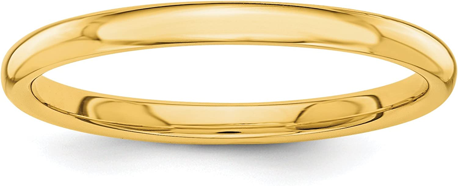 Solid 14k Yellow Gold 2 mm Polished Wedding Band Ring