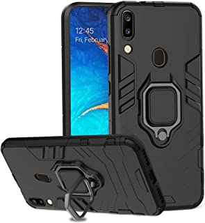 Ferilinso Case for Samsung Galaxy A20 / A30, Stylish Dual Layer Hard PC Back Case with Ring Grip Kickstand & Support Magnetic Car Mount Function Cover for Samsung Galaxy A20 / A30 Case-Black