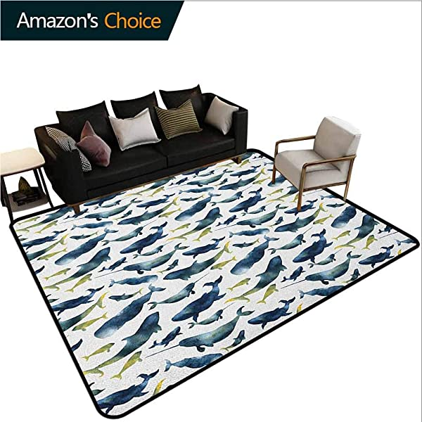 YucouHome Narwhal Over Sized Area Rug Kids Girl Watercolor Whales Of The Arctic Ocean Cachalot Orca Blue Whale Illustration Fashionable High Class Living Dinning Room 2 X 6 Dark Blue Yellow