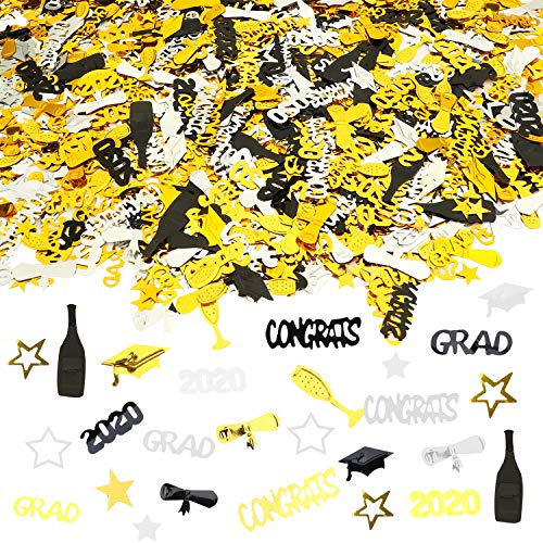 HOWAF 2020 Abschluss Konfetti, Glückwunsch Graduation Kleiner Doktorhut Konfetti Tischdeko Bachelor Promotion Geschenk 2020 Abschluss Deko, Gold Schwarz, 1500 Teile