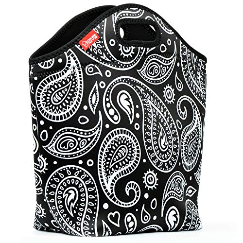 """Neoprene Lunch Bag for Women, Yookeehome 13.5"""" x 13"""" x 5.5"""" Extra Large Insulated Lunch Tote Box Reusable Thermal Lunch Bag for Adults Great for Office Work Picnic Travel, Paisley"""