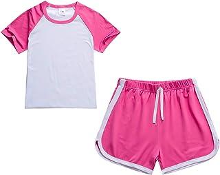 amropi Conjunto de Camiseta y pantalón Corto para niña Traje de Manga Corta Verano 2 Piezas 2-11 años