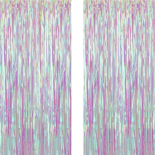 Iridescent Transparent Foil Fringe Curtain with Balloon Sticks Metallic Photo Booth Tinsel Shiny Curtains for Birthday Party Wedding Photo Booth Decorative Fringe Curtains (2 Pics,3.3X9.9FT)
