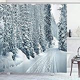 Winter Duschvorhang Ski Thema Schneewelt Fußabdrücke in den kalten Regionen von Colorado USA Duschvorhang Winter Naturlandschaft Badezimmerzubehör