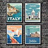 Retro Travel Commemorative Posters office Wall Art Decor ?High Definition Giclee Modern Canvas?High resolution canvas wall art, HD pictures photo printed on canvas with vivid color on high quality canvas. High-quality environmental protection ink, wa...