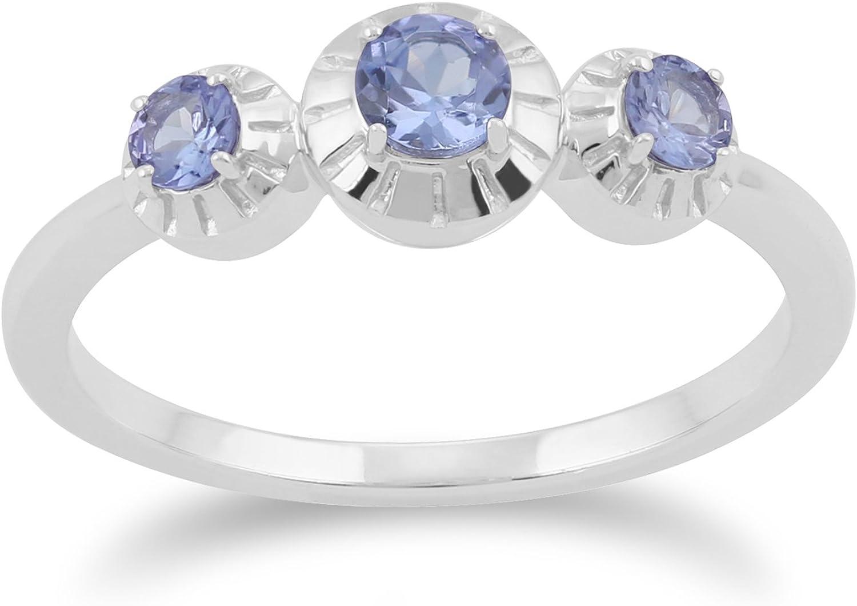 Gemondo Tanzanite Ring, 925 Sterling Silver 0.36ct Tanzanite Three Stone Ring