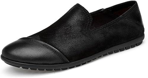 YIJIAN-schuhe Herren Oxford Schuhe Stilvolle Bequeme echte Leder-Schuhe Casual Slip On Dress Loafers für die Arbeit Business Kleid Oxford Schuhe (Farbe   Schwarz Größe   39 EU)